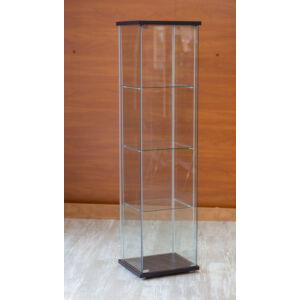Nyílóajtós, keret nélküli, álló vitrin EDZETT ÜVEGBŐL, 430 x 370 x 1630 mm, WENGE