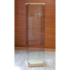 Nyílóajtós, keret nélküli, álló vitrin EDZETT ÜVEGBŐL, 1795 x 492 x 446 mm, JUHAR