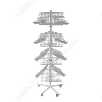 Prospektustartó állvány hálóból - 4 szintes