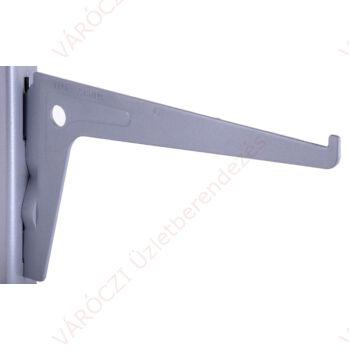 Metall egysoros konzol, 15-40 cm, EZÜST, 50 mm osztással