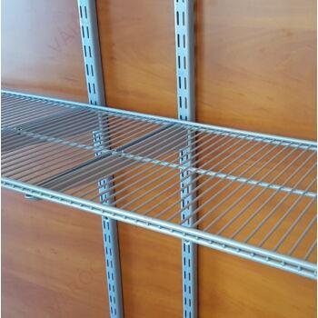 Metall kétsoros HUZALPOLC, 900x310 mm, EZÜST, 32 mm-es osztású falisínhez