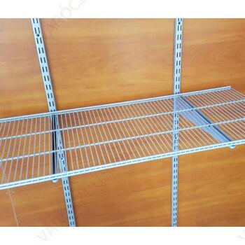 Metall kétsoros HUZALPOLC, 900x410 mm, EZÜST, 32 mm-es osztású falisínhez