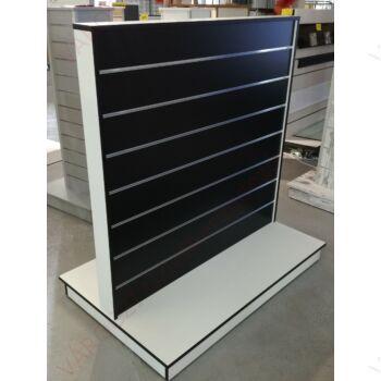 Kétoldalas gondola, 15 cm osztású FEKETE alusínes panelból, FEHÉR kerettel, fekete élzárással