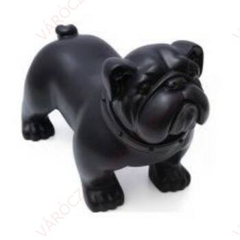 Kutya kirakati bábú,álló forma,Bulldog alak, FEKETE