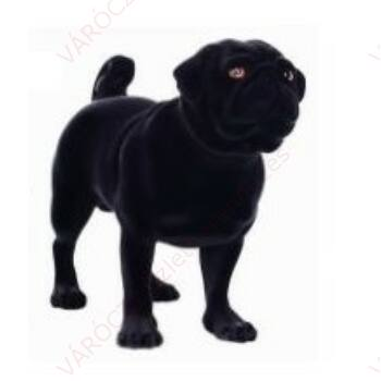 Kutya kirakati bábú, álló forma, Mopsz alak, FEKETE