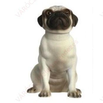 Kutya kirakati bábú, ülő forma, Mopsz alak, FEHÉR