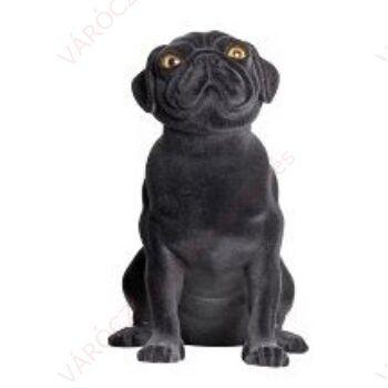 Kutya kirakati bábú, ülő forma, Mopsz alak, FEKETE