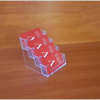 Névjegytartó, 4 rekeszes, asztali, fekvő, 90 x 50 mm