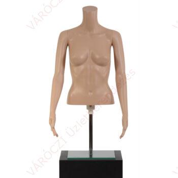 Műanyag női 1/2 torzó karral, üvegtalpon