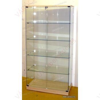 Nyílóajtós, keret nélküli, álló vitrin EDZETT ÜVEGBŐL, 932 mm széles, JUHAR