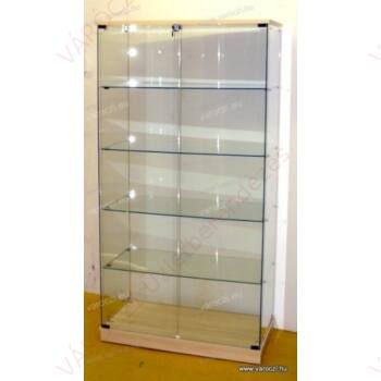 Nyílóajtós, keret nélküli, álló vitrin EDZETT ÜVEGBŐL, 1795 x 932 x 446 mm, JUHAR