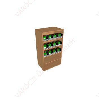 Nyitott, polcos, 56 cm széles, cigaretta adagolós szekrény, nyitott polcos résszel