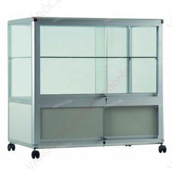 Alumínium keretes gurulós és tárolós PULTVITRIN, 1000x500x1000 mm, lábazattal vagy kerékkel