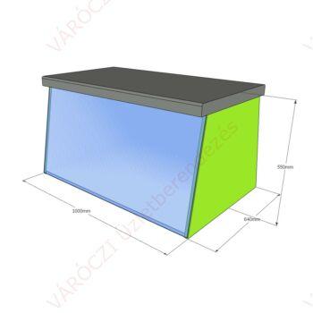 Tükrös ülőke, barna kárpit, zöld bútorzat 1000 x 550 x 600 mm