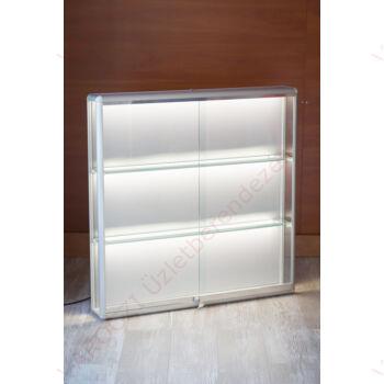 Alumínium keretes fali vitrin, 1000x150x1000 mm, világítással