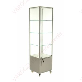 Alumínium keretes gurulós és tárolós vitrin, 500x500x1950 mm lábazattal vagy kerékkel