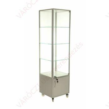 Alumínium keretes tárolós vitrin, 500x500x1800 mm, világítással