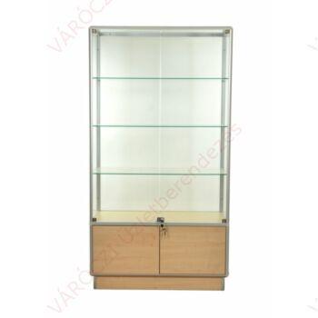 Alumínium keretes, tárolós üveg vitrin, 1000x500x1900 mm, világítással