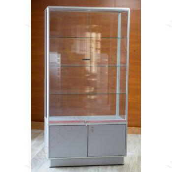 Alumínium keretes, tárolós üveg vitrin, 1000x500x1800 mm, világítás nélkül, 2 polccal