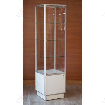 Alumínium keretes tárolós vitrin, 500x500x1800 mm, világítás nélkül