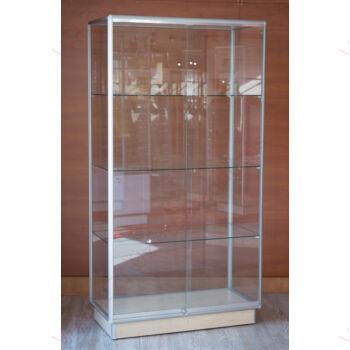 Alumínium keretes üveg vitrin, 1000x500x1800 mm, világítás nélkül