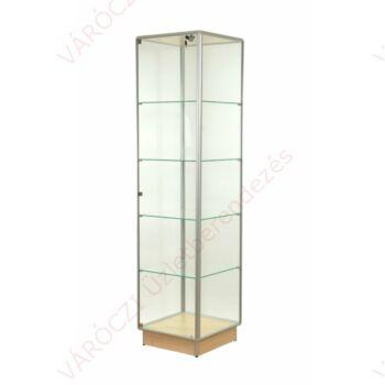 Alumínium keretes üveg vitrin 500x500x1900 mm, lábazattal vagy kerékkel