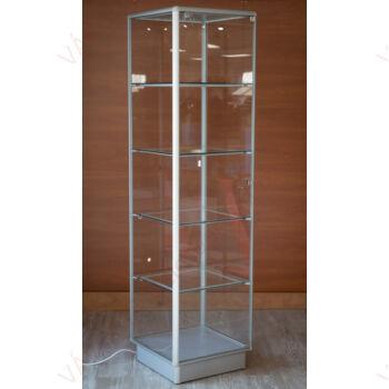 Alumínium keretes üveg vitrin 500x500x1900 mm, EZÜST, világítás nelkül