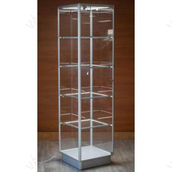 Alumínium keretes üveg vitrin 500x500x1900 mm, EZÜST, világítással