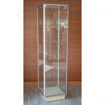 Alumínium keretes üveg vitrin, 500x500x1900 mm, világítás nélkül