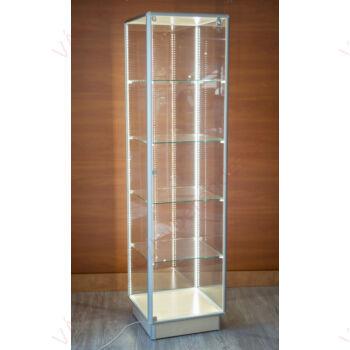 Alumínium keretes üveg vitrin, 500x500x1900 mm, JUHAR, világítással