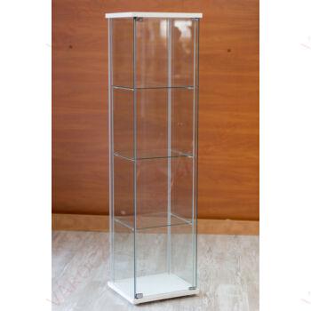 Nyílóajtós, keret nélküli, álló vitrin EDZETT ÜVEGBŐL, 430 x 370 x 1630 mm, FEHÉR