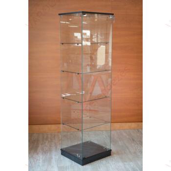 Nyílóajtós, keret nélküli, álló vitrin EDZETT ÜVEGBŐL, 492 mm széles, FEKETE