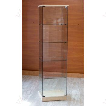 Nyílóajtós, keret nélküli, álló vitrin EDZETT ÜVEGBŐL, 492 mm széles, JUHAR