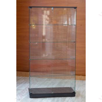 Nyílóajtós, keret nélküli, álló vitrin EDZETT ÜVEGBŐL, 932 mm széles, FEKETE